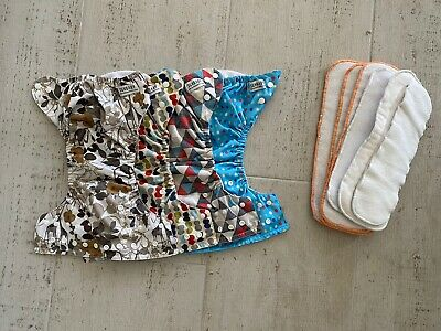 Sunbaby Adjustable Washable Diapers / Covers Lot 4 With Inserts