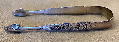 Antique S Kirk Coin Silver Floral Pattern Sugar Tongs
