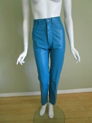 vintage Patricia Wolf Leather High Waist Jean Cut Trouser in Turquoise Size 2