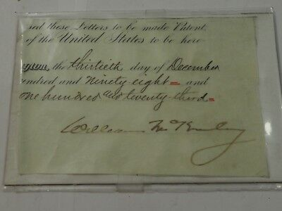 PRESIDENT WILLIAM McKinley SIGNED commission Cutout 1898 Authentic Guaranteed