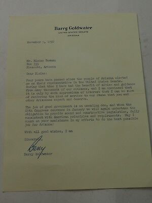 1956 BARRY GOLDWATER Letter SIGNED to Blaine Bowman asking for support