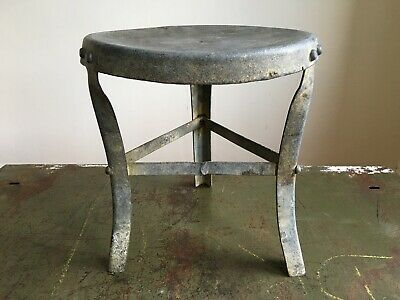 Antique Naive Galvanised Steel Milking Stool Farmhouse Barn Salvage Patina