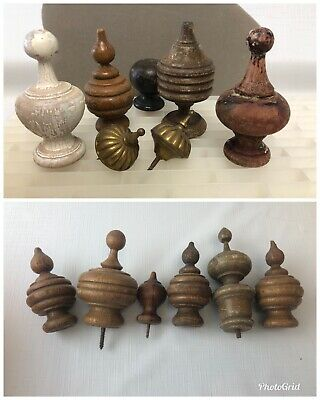 LOT 13 Vtg Turned Wood Finial Furniture metal Curtain Bed Architectural Salvage