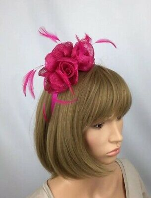 Fuchsia Fascinator Hot Pink Bow Ladies Day Ascot Races Mother Bride Wedding