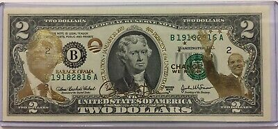 The 44th President Official Colorized USA $2 Dollar Bill BARACK OBAMA