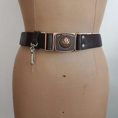Boy Scout Belt Buckle SZ 82cm Brown Leather Copper Buckle Collectable Be Prepare