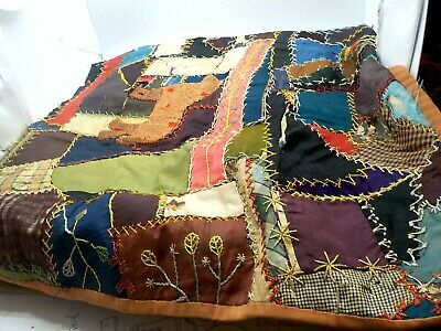 Antique Early 1900's Handmade Hand Stitched Silk Embroidered Crazy Quilt Pillow