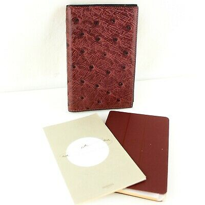 Auth HERMES AGENDA GM Notebook Day Planner Cover Ostrich Leather Purple