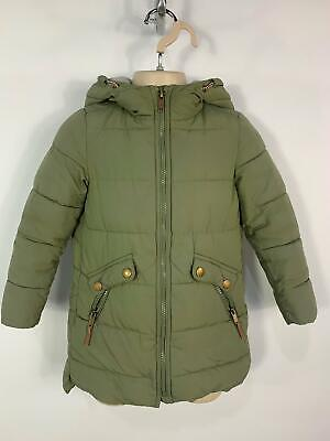 Girls Zara Khaki Green Winter Casual Padded Hood Raincoat Jacket Kids Age 5 Year