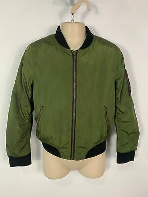 Girls Primark Khaki Green Casual Padded Coat Zip Bomber Jacket Kids Age 8/9 Yrs