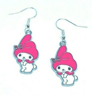 Cute My Melody Earrings Silver Plated Hooks In Gift Bag Kawaii