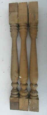 """Lot 3 Antique Victorian Wood Stair Porch Spindles Balusters Mustard Yellow 20"""""""