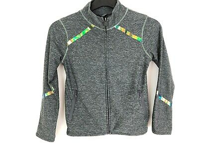 Next Zip Up Top Grey Metallic Stripe Activewear Age 9 Years