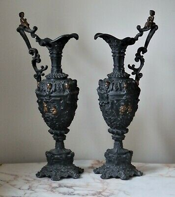 A Pair Of Antique French Spelter Ornate Cherub Ewers Pitchers Jugs
