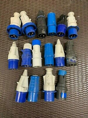 Qty 16 used UK 16 amp plugs for outdoor / events etc
