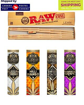 Raw pre rolled lean cones 20/pk | 4 Billionaire Pure Hemp wraps |2/Pk | TTL 8