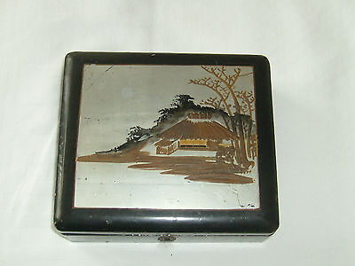 Antique Black Wooden Box Oriental Scene And Jewellery Box And Small Trinket Box