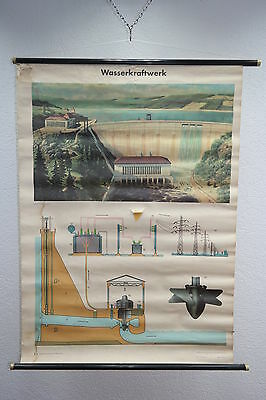 "Old Large Teaching Board "" Power Plant "" Unterricht Wall - Role Map"