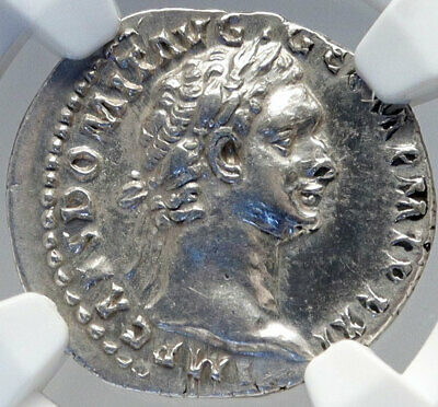 DOMITIAN Authentic Ancient 92AD Rome Silver Roman Coin MINERVA NGC AU i82610