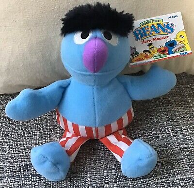 "Tyco Sesame Street Beans Herry Monster Bean 8"" Stuffed Toy Plush 1997 New w/Tags"