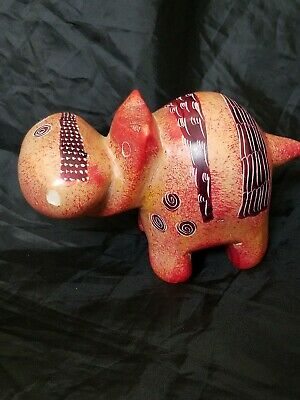 Hand Carved SoapStone House Hippo Hippopotamus Pink/Peachy Colors Carved Detail.