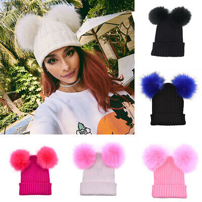 AB_ Women's Winter Beanie Outdoor ChunkyKnit with Double Fur Pom Pom Cute Hat