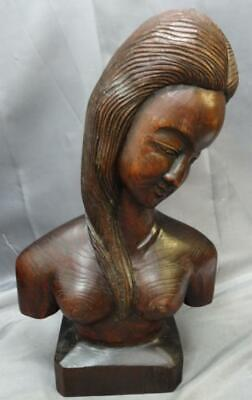 Vintage Polynesian Asian Wood Carving Bust Beautiful Nude Woman Female Carved