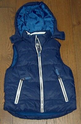 H&M Boys Navy Hooded Puffer Vest Sz 8 - 9