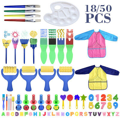 Kids Painting Brushes Set Apron Sponge Smock Tool for Children Toddler Brush Toy