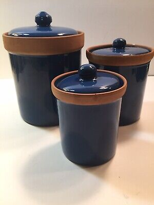 Glazed Terra Cotta Blue Canisters Kitchen Jars With Lids Set Of 3 Made In Italy
