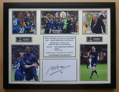 2017 Man Utd Europa League Winners Display Signed by Antonio Valencia (14495)