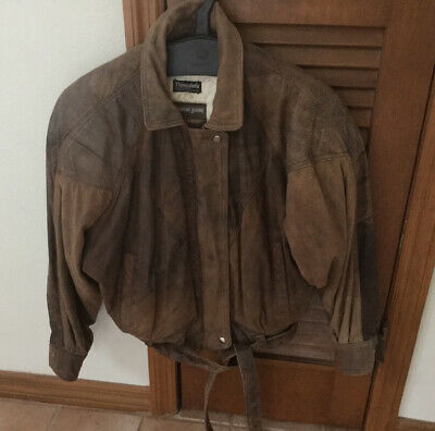 Vintage Women's Adventure Bound Distressed Leather Bomber Jacket, Brown, XSmall