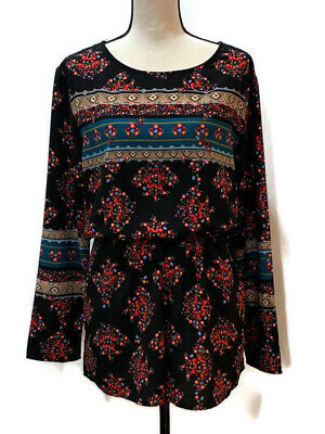 Fraiche by J Womens Floral Romper Size Large Multicolor Long Sleeve