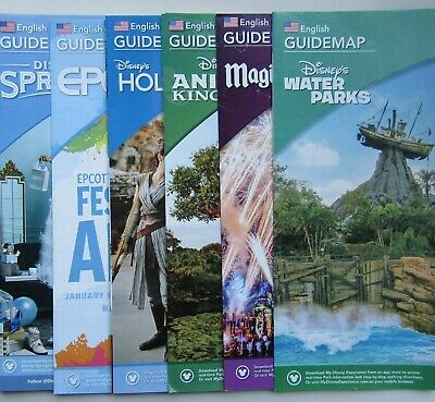 6 x BRAND NEW WALT DISNEY WORLD GUIDE MAPS 2020 INCLUDES WATER PARKS & SPRINGS