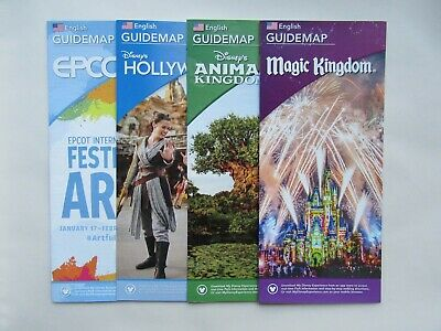 4 x BRAND NEW WALT DISNEY WORLD GUIDE MAPS 2020