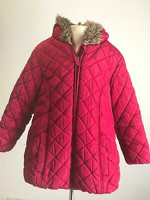 Girls Marks & Spencer Berry Hooded Warm Winter Coat Jacket Kids Age 5-6 Years