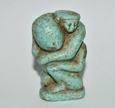 Rare ANCIENT Egyptian blue faience FIGURE of person holding his penis 672-332BC