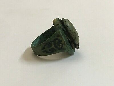 ancient Egyptian Copper ring with stone scarab size 11.5 Egypt 1069–664 BC e