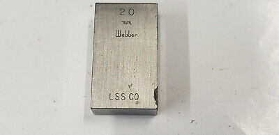 20 mm Webber Starrett Rectangle Steel Gage Gauge Block. shelf-f4 #2 webber box