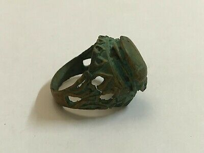 rare ancient Egyptian Egypt Copper ring with stone scarab size 9 1069–664 BC j