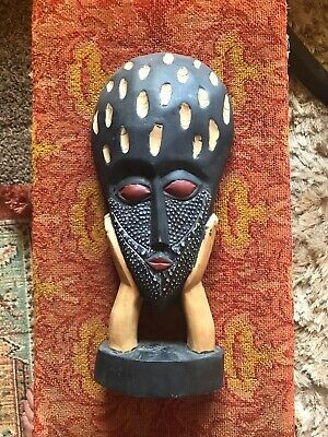 """hand carved wooden african tribal mask, 16"""" X 7"""""""