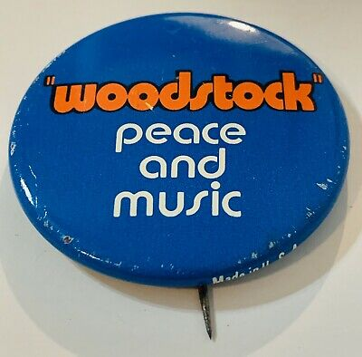 Woodstock Peace And Music Pin Vintage Hippy