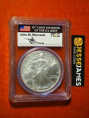 2005 $1 American Silver Eagle Pcgs Ms70 Mercanti Signed First Strike Flag Label