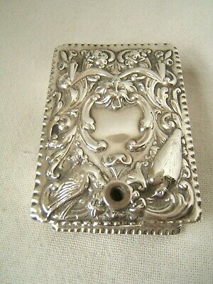 Antique English Sterling Silver Match Box Holder Fancy