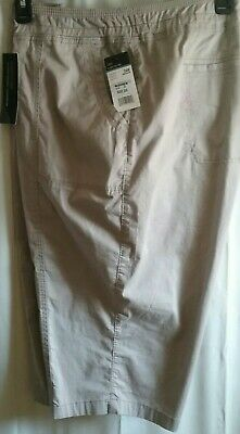 Lee Flex To Go Khaki Mid Rise Relaxed Fit Skimmer Capri Knicker Pant Crop 24W