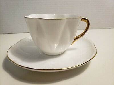 Shelley Fine Bone China Regency Dainty White And Gold Tea Cup And Saucer