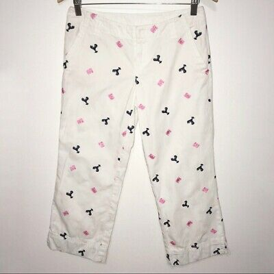 Lilly Pulitzer White Embroidered Lobster Print Capri Pants Women's Size 2 Cotton