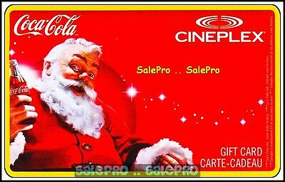 Cineplex 2012 Christmas Santa Cheering Coca Cola Bottle Collectible Gift Card