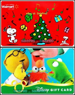2x DISNEY MUPPETS SHOW WALMART CHRISTMAS PEANUTS MUSIC COLLECTIBLE GIFT CARD LOT