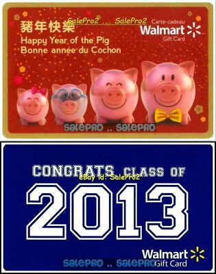 2x WALMART YEAR OF THE PIG CONGRATS CLASS OF 2013 RARE COLLECTIBLE GIFT CARD LOT